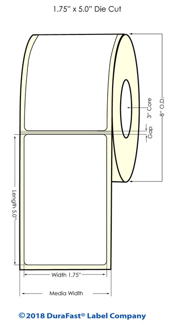 "TM-C7500 1.75""x5"" NP High Gloss Paper Inkjet Labels 1100/Roll"