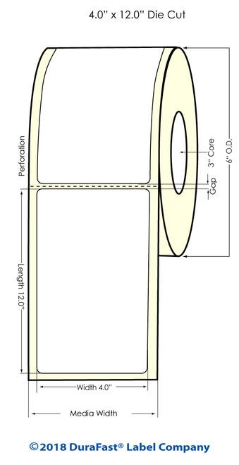 "TM-C7500 4"" x 12"" Matte Paper Inkjet Labels 450/Roll"