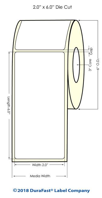"""LX2000 2"""" x 6"""" NP Matte BOPP Inkjet Labels 375/Roll (553028)"""