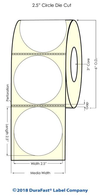 "TM-C7500G 2.5"" Circle Glossy BOPP Inkjet Labels 880/Roll"