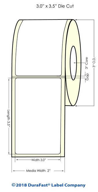 "VP485 3"" x 3.5"" NP [0.25 gap] Glossy BOPP Labels 1400/Roll (554029)"