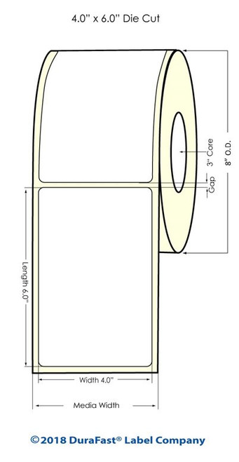 "TM-C7500 4"" x 6"" (8"" OD) Chemical Inkjet Labels 800/Roll (556031)"