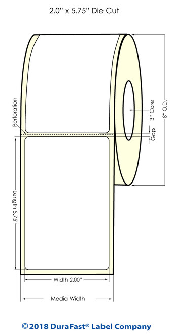 "TM-C7500 2"" x 5.75"" (8"" OD) Chemical Inkjet Labels 800/Roll"