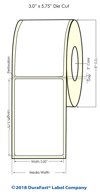 "TM-C7500 3"" x 5.75"" (8"" OD) Chemical Inkjet Labels 800/Roll (556034)"