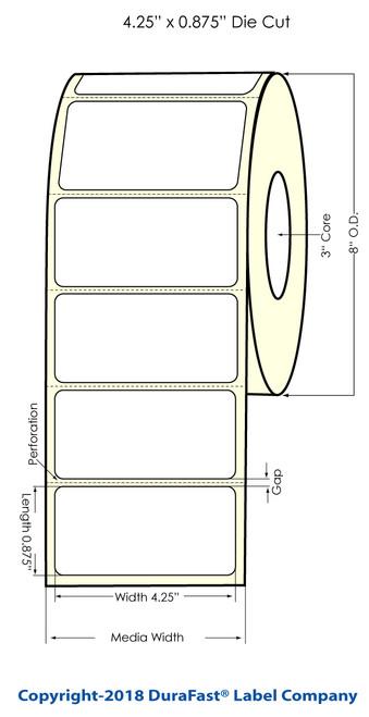 "TM-C7500 4.25"" x 0.875"" Chemical Inkjet Labels 2000/Roll (556035)"