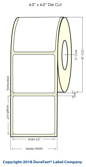 "TM-C7500 4"" x 4"" (8"" OD) Chemical Inkjet Labels 1300/Roll"