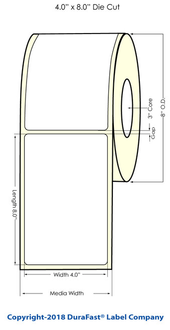 "TM-C7500 4"" x 8"" (8"" OD) Chemical Inkjet Labels 600/Roll (556048)"