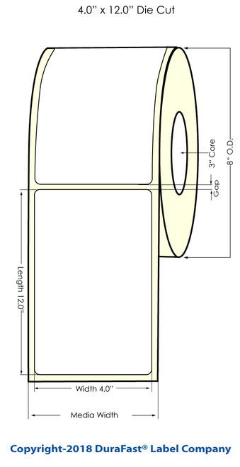 "TM-C7500 4"" x 12"" (8"" OD) Chemical Inkjet Labels 400/Roll"