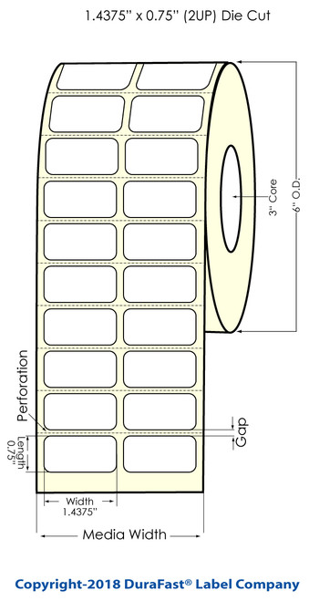 """M-C7500 1.4375"""" x 0.75"""" (2UP) Chemical Inkjet Labels 4000/Roll (556056)"""