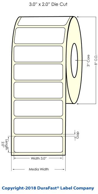 "TM-C7500 3"" x 2"" NP (8"" OD) Chemical Inkjet Labels 2000/Roll (556062)"