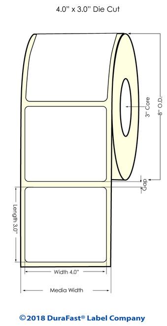 "L801 4"" x 3"" NP (8""OD) High Gloss Paper Inkjet Labels 1500/Roll (641012)"