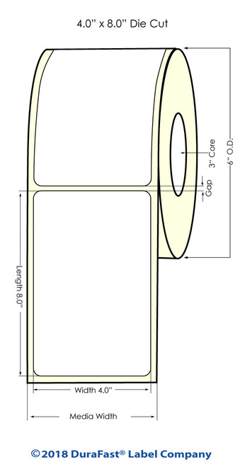 "L801 4"" x 8"" NP High Gloss Paper Inkjet Labels 325/Roll (641013)"
