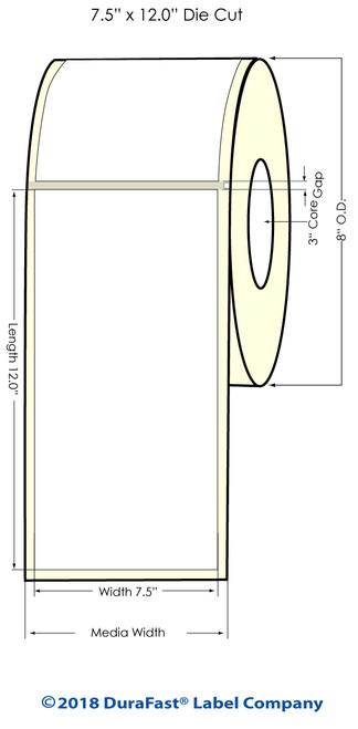 "Memjet 7.5"" x 12"" NP High Gloss Inkjet Labels w Square Corners (641014)"