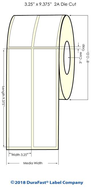"Memjet 3.25"" x 9.375"" NP High Gloss Inkjet Labels w Square Corners - 2 Across (641016)"
