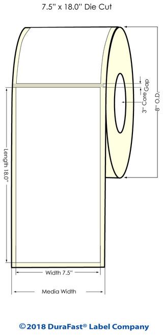 "Memjet 7.5"" x 18"" High Gloss Inkjet Labels w Square Corners -300/Roll (641017)"