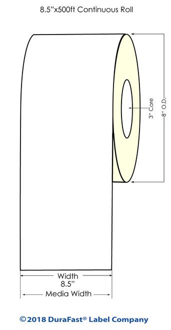 "L801 8.5"" x 500ft High Gloss Paper Inkjet Labels Roll (641050)"