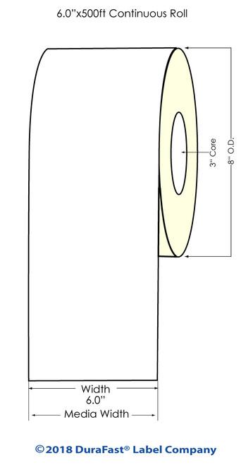 "L801 6"" x 500ft High Gloss Paper Inkjet Labels Roll (641051)"