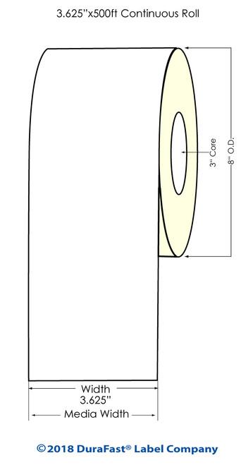 "Memjet 3.625"" x 500 Feet Cont Inkjet Labels Roll 2 UP (641052)"