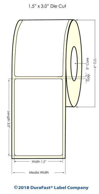"L801 1.5"" x 3"" NP High Gloss Paper Inkjet Labels 1600/Roll (641054)"