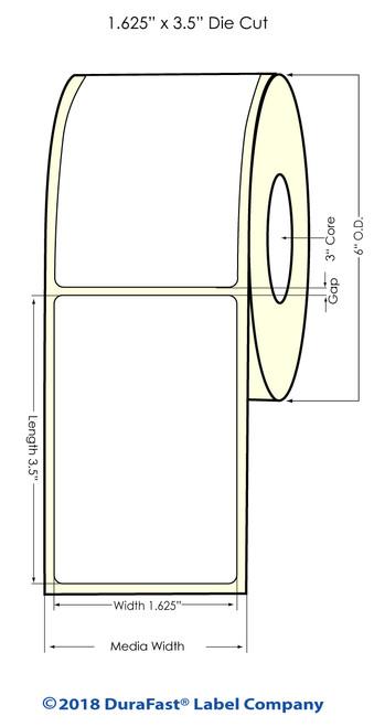 "L801 1.625"" x 3.5"" NP Glossy BOPP Inkjet Labels 700/Roll (644010)"