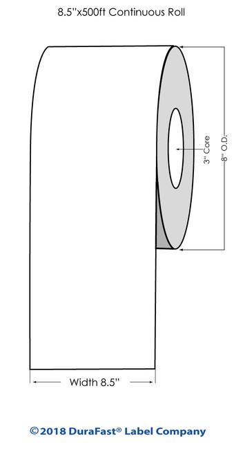 "L801 8.5"" x 500ft Glossy BOPP Inkjet Labels Roll (644050)"