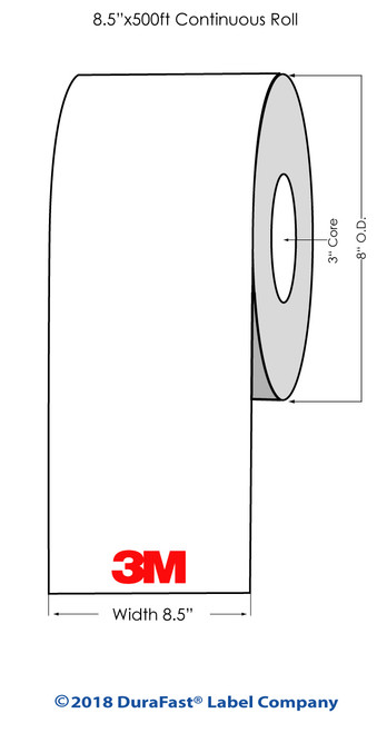 "3M FM852 Glossy Clear Polyester 8.5""x 500Ft Laser Labels Roll (686002)"