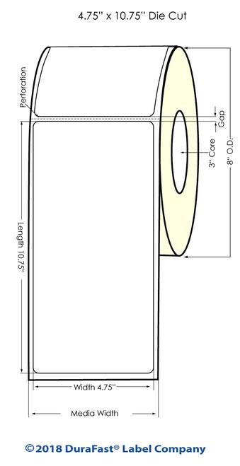 "iColor 700 4.75"" x 10.75"" Matte Vinyl Laser Labels 400/Roll (688003)"