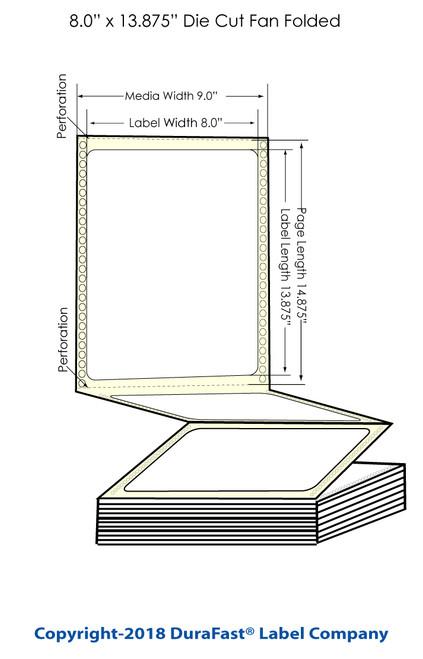 "GP-C831 8"" x 13.875"" Chemical Inkjet Labels 600/Carton (805012)"