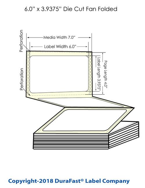"GP-C831 6"" x 3.9375"" Chemical Inkjet Labels 1800/Carton (805019)"