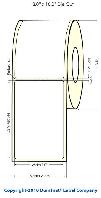 "TM-C3500 3"" x 10"" (1A) Matte Paper Inkjet Labels 110/Roll (812029)"