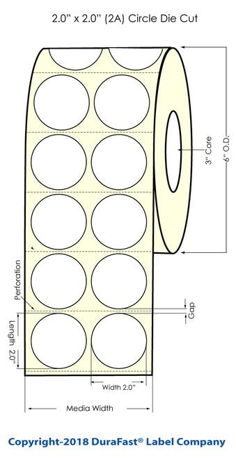 "TM-C3500 2"" Circle (2A) Matte BOPP Inkjet Labels 1120/Roll (814027)"