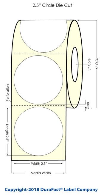 "TM-C3500 2.5"" Circle (1A) Matte BOPP Inkjet Labels 450/Roll (814028)"
