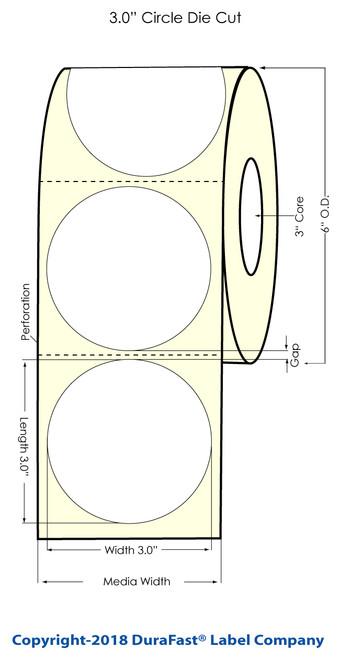 "TM-C3500 3"" Circle (1A) Matte BOPP Inkjet Labels 380/Roll (814029)"