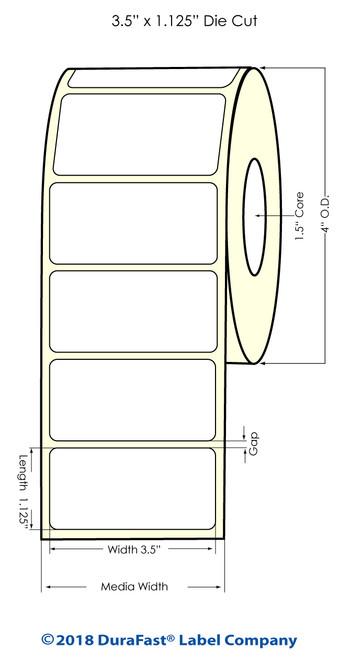 "TM-C3500 3.5"" x 1.125"" Matte BOPP Inkjet Labels 850/Roll (814038)"