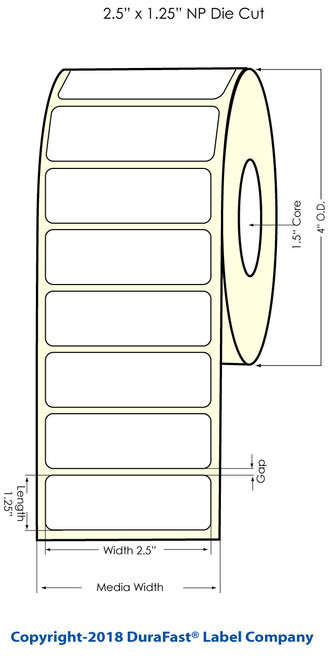 "TM-C3500 2.5"" x 1.25"" NP Chemical Inkjet Labels 750/Roll (815041)"