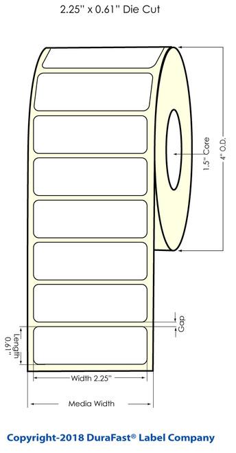 "TM-C3500 2.25"" x 0.61"" NP Chemical Inkjet Labels 1400/Roll (815045)"