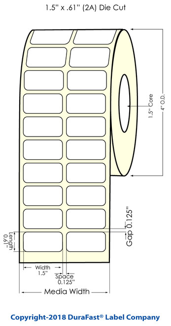 """TM-C3500 1.5"""" x 0.61"""" NP (2 UP) Chemical Inkjet Labels 2800/Roll (815046)"""