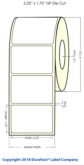 "TM-C3500 2.25"" x 1.75"" NP Chemical Inkjet Labels 550/Roll (815047)"
