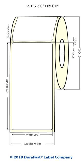 """LX500 2"""" x 6"""" Matte BOPP Inkjet Labels 300/Roll (923001)"""