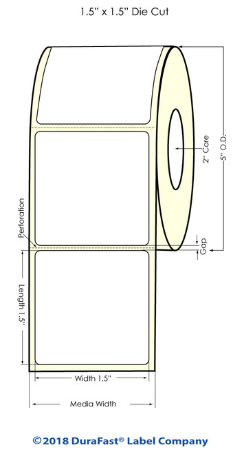 """LX500 1.5"""" x 1.5"""" Matte BOPP Inkjet Labels 1200/Roll (923004)"""