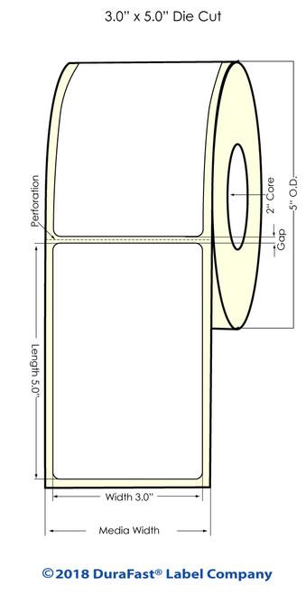 """LX500 3"""" x 5"""" Matte BOPP Inkjet Labels 375/Roll (923006)"""