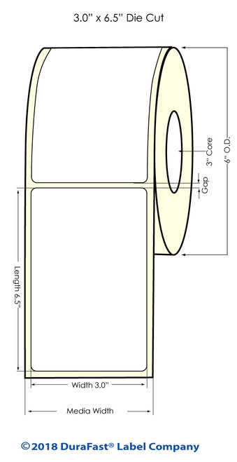 "LX900 3"" x 6.5"" NP High Gloss Paper Inkjet Labels 400/Roll (931021)"