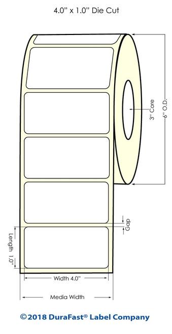 "LX900 4"" x 1"" NP High Gloss Paper Inkjet Labels 2500/Roll (931023)"