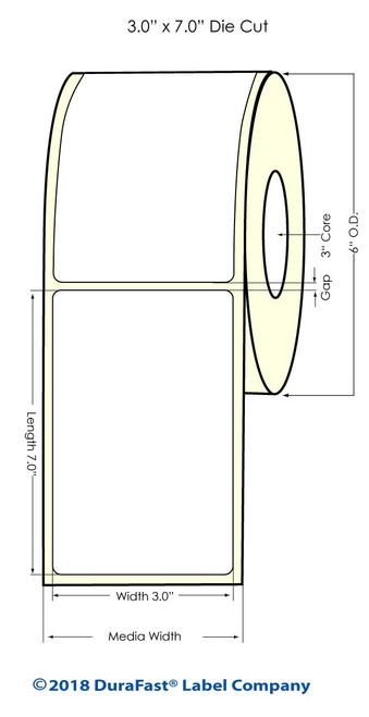 "LX900 3"" x 7"" NP (0.25"" Gap) High Gloss Paper Inkjet Labels 300/Roll (931024)"