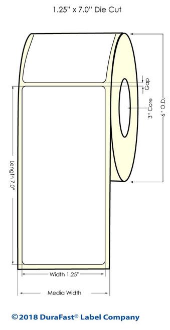 "LX900 1.25"" x 7"" NP High Gloss Paper Inkjet Labels 370/Roll (931025)"
