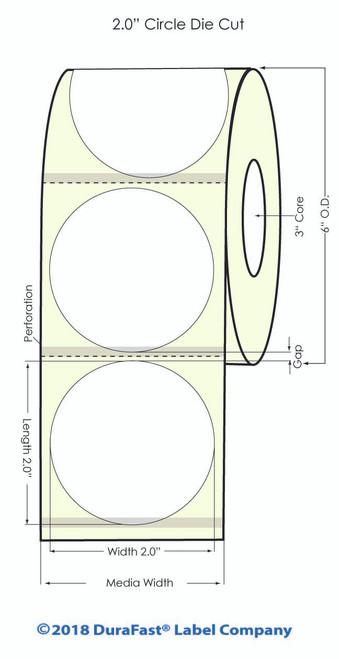 "L801 2"" Circle High Gloss Paper Inkjet Labels 1100/Roll (931028)"