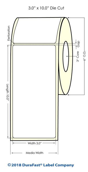 """TM-C7500G 3"""" x 10"""" High Gloss Paper Inkjet Labels 250/Roll (931031)"""
