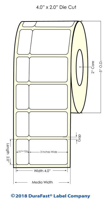 "LX900 4"" x 2"" NP (tea) Matte Paper Inkjet Labels 1000/Roll (932013)"