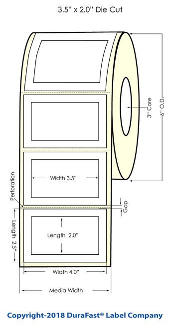 """LX900 3.5"""" x 2"""" (inside 4"""" x 2.5"""") Matte Paper Inkjet Labels 1000/Roll (932023)"""