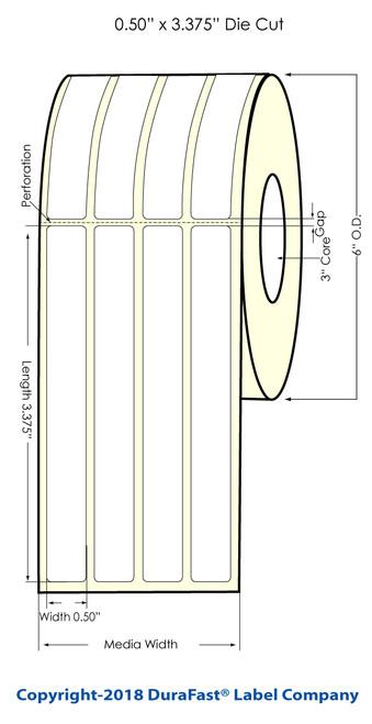 """TM-C7500 0.5"""" x 3.375"""" (4 UP) Matte Paper Inkjet Labels 2800/Roll (932026)"""